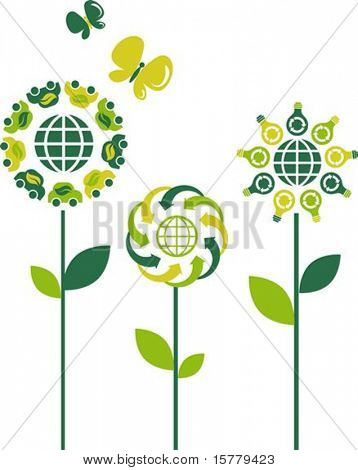 Eco flower symbols - green energy theme