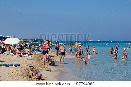 PROTARAS, CYPRUS - 11 OCTOBER 2016: Famous Fig Tree bay beach