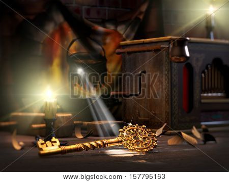 3D illustration of fairy tale of Golden key