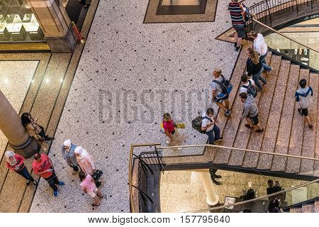 Amsterdam Netherlands - August 1 2016: High angle view of the lobby of Magna Plaza Shopping Center in Amsterdam. Indoor view