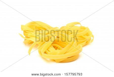 Raw pasta isolated on a white background.