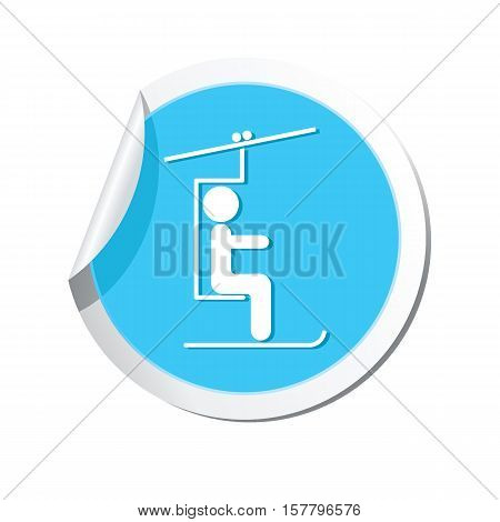 Round sticker with skier on the chair lift icon. Vector illustration