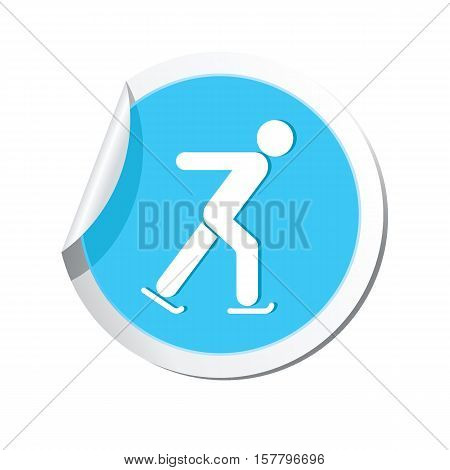 Map pointer with ice skater symbol. Vector illustration