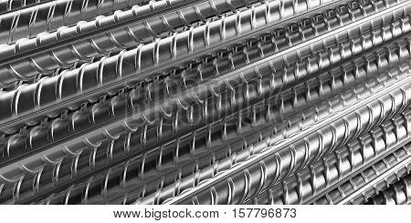 Reinforcement bars as wallpaper or background. 3D rendering