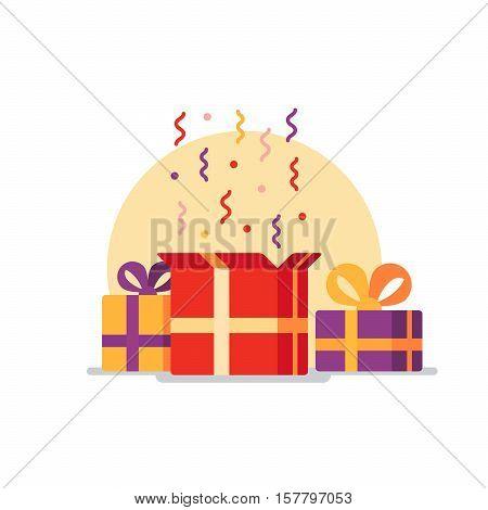 Celebration event, surprising gift boxes. Give presents concept. Flat design vector illustration