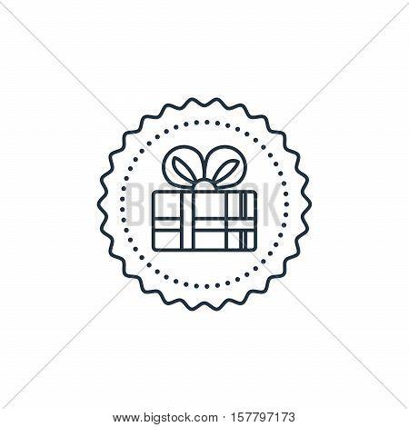 Celebration event, surprising gift box icon. Round label. Flat design vector illustration