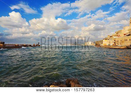 Tel Aviv, Israel. Old Jaffa seaport in the storm