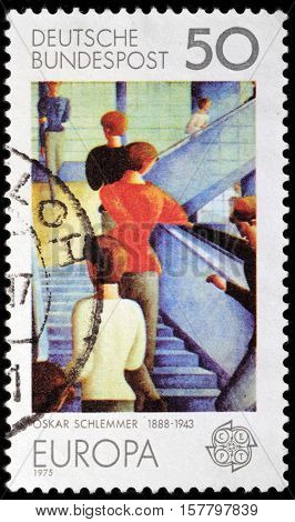 LUGA RUSSIA - NOVEMBER 06 2016: A stamp printed by USSR (Russia) shows Bauhaustreppe (Bauhaus Stairway) painting by German painter sculptor designer Oskar Schlemmer circa 1975