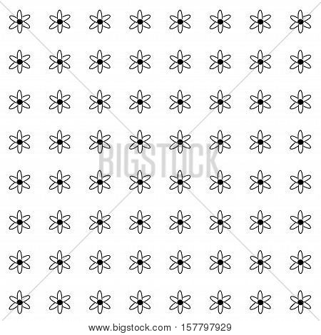 Vector hand drawn cartoon seamless pattern with atoms. Scientific theme. Black and white atom pattern for paper textile polygraphy game web design