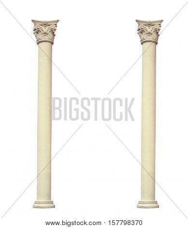 Antique two columns of the Corinthian order isolated on white background.