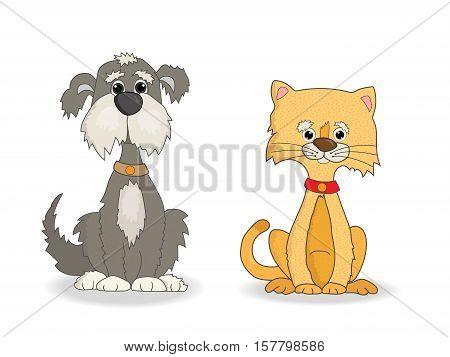 Dog and cat cute cartoon vector illustration