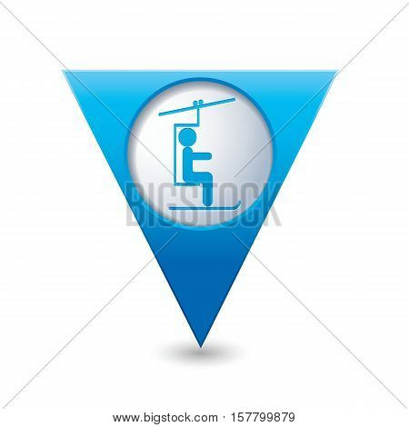 Map pointer with skier on the chair lift icon. Vector illustration