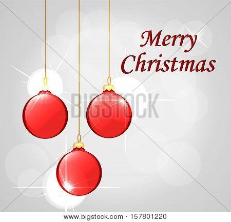 Hanging Christmas balls. Merry Christmas cad. Vector Illustration