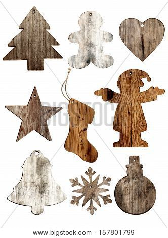 Set of christmas wood decorations isolate on white xmas ornament. vintage styles