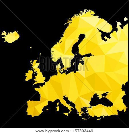 Abstract Golden map of Europe. Vector illustration for Your design.