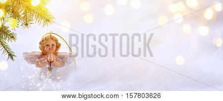 Christmas background with Christmas tree and holidays ornament on white background