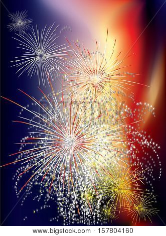 New Year celebration with colorful fireworks on colored background