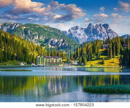Beautiful Summer Morning On The Lake Misurina