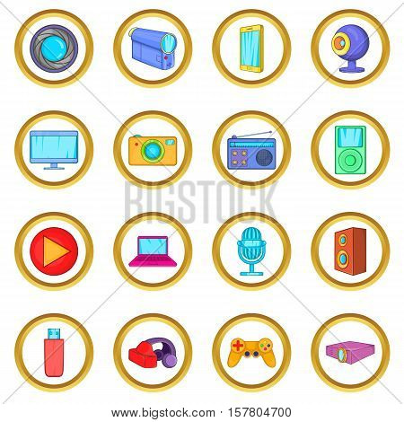 Multimedia vector set in cartoon style isolated on white background