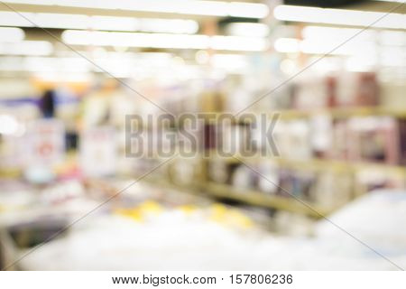 inside supermarket linen section with soft blurry background