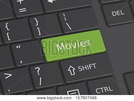 The word Movies written on a green key from the keyboard