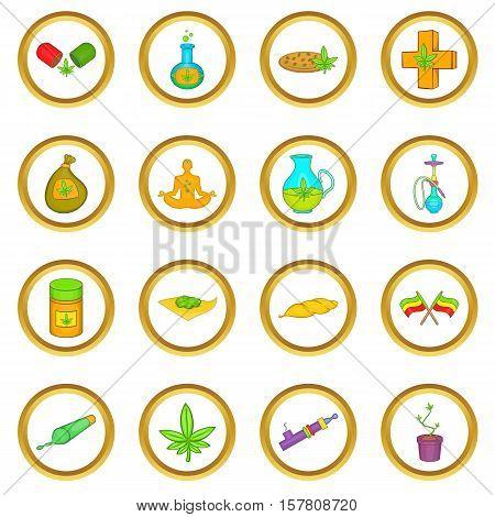 Medical marijuana vector set in cartoon style isolated on white background