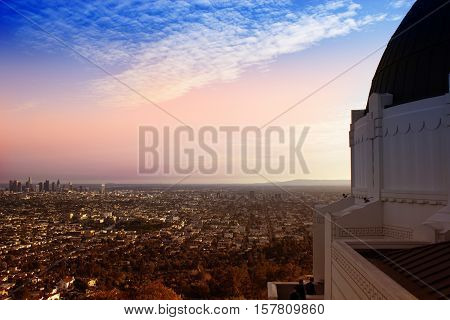 Los Angeles California USA downtown skyline viewed from Griffith Observatory. LA aerial view from observatory
