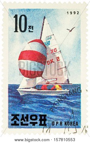 MOSCOW RUSSIA - NOVEMBER 21 2016: A stamp printed in DPRK (North Korea) shows yachting series