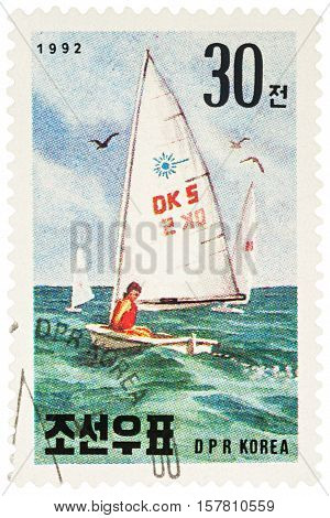MOSCOW RUSSIA - NOVEMBER 21 2016: A stamp printed in DPRK (North Korea) shows sailboat series