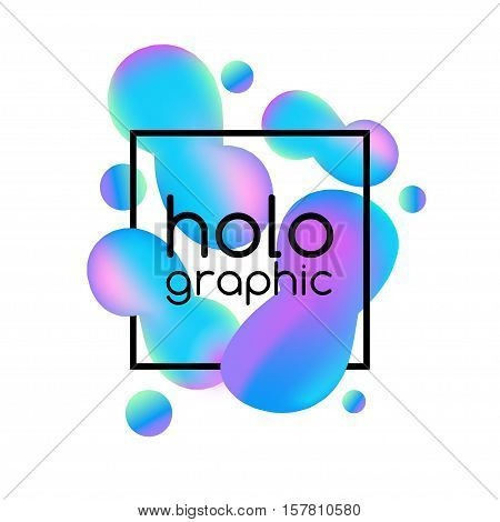 Trend illustration holographic neon bright fluid on white background with text frame