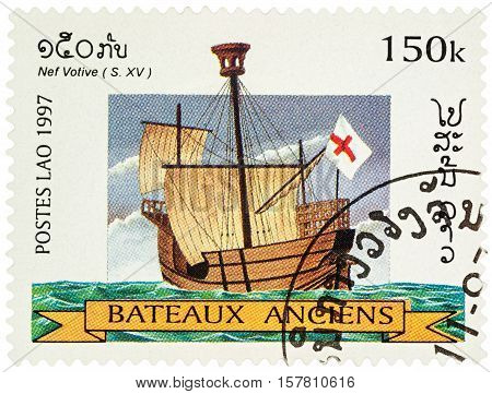 MOSCOW RUSSIA - NOVEMBER 18 2016: A stamp printed in Laos shows ancient (15th-century) sailing ship series