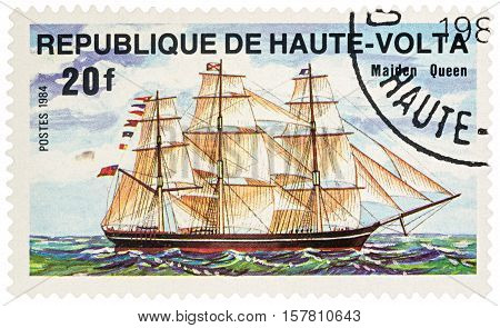 MOSCOW RUSSIA - NOVEMBER 20 2016: A stamp printed in Upper Volta (Burkina Faso) shows sailing ship