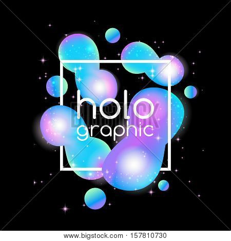 Trend illustration shine holographic neon bright fluid on black background with text frame