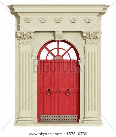 Front View Of A Classic Arch With Red Door