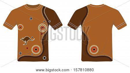 Aboriginal Art T-Shirt Design Vector. Round Neck Tee Illustration.