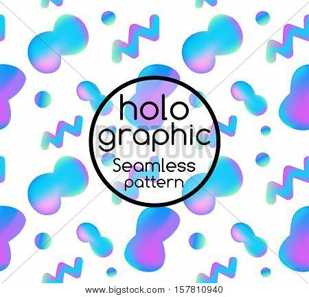Trend seamless illustration holographic neon bright fluid on white background