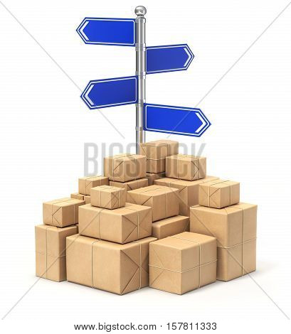 Signpost with four arrows and post packages - 3D illustration