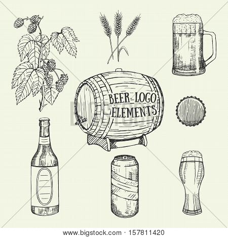 Creative beer set with mug, bottle, glass, can, cover, wheat, hop and barrel. Vector illustration. Hand drawing graphic objects used for advertising beer festival, beverage, brewery, bar or pub menu.