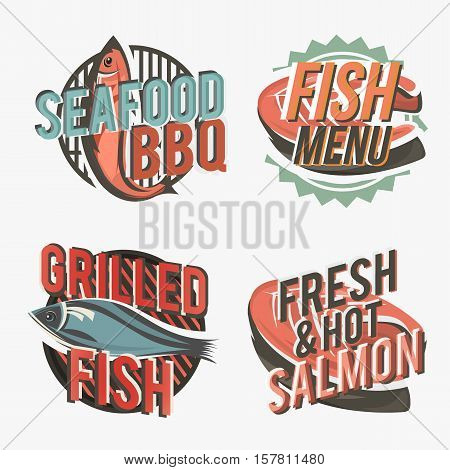 Creative set of fish logos include salmon steak and grilled fish silhouette. Vector illustration. Fish logos used for advertising fish dishes, fish market, barbecue bar, bistro or restaurant menu.