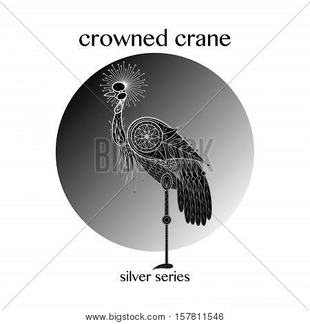 Bird Crowned Crane. Vector illustration. Decoration image.