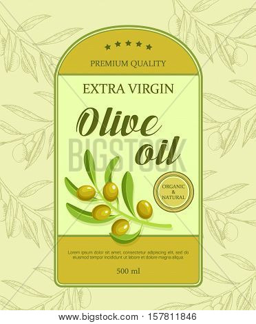 Beautiful label for olive oil with green olive branch. Vector illustration done in retro style. Label designed for advertising live oil premium quality.