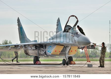 Vasilkov Ukraine - April 24 2012: Ukraine Air Force Mig-29 is preparing for a training flight on the airfield