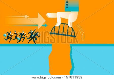 Hand puts the bridge. Business concepst. Vector illustration