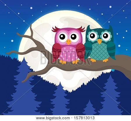Stylized owls on branch theme image 9 - eps10 vector illustration.