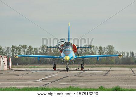 Vasilkov Ukraine - April 24 2012: Ukraine Air Force Aero L-39 Albatros trainer plane is being prepared for flight on the airfield