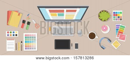 Web designer desk mockup. Desk with computer screen, tablet and drawing tools.