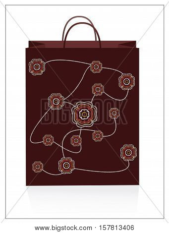 Tote bag with aboriginal art. carry bag vector illustration.