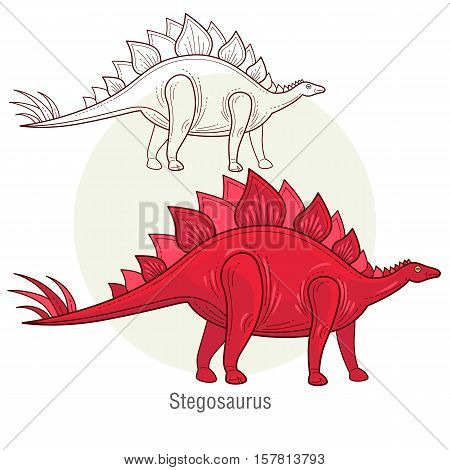 Stegosaurus. Ancient jurassic reptile vector illustration cartoon prehistoric dinosaur isolated on white background. Full-color flat images animal and abstract linear.
