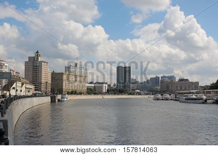 Moscow, Russia May 25, 2016 Moscow River between Krasnopresnenskaya embankment and the riverfront named after Taras Shevchenko
