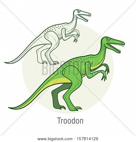 Velociraptor. Ancient jurassic reptile vector illustration cartoon prehistoric dinosaur isolated on white background. Full-color flat images animal and abstract linear.